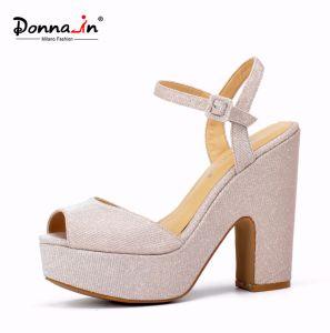2017 Casual Lady Silk High Heels Platform Women Sandals Shoes