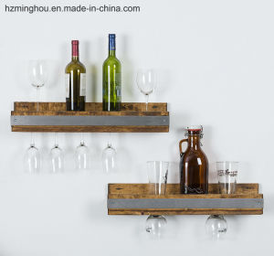 Simple Design Wall Mounted Wine Rack with Glass Display pictures & photos