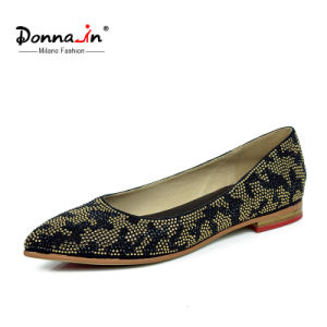 Lady Fashion Crystal Leopard Print Suede Leather Flat Women Shoes