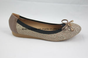 Bowknot Decoration Dress Flat Heel Lady Fashion Shoes pictures & photos