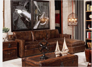 Brown Color Restaurant Hotel Furniture Leather Sofa Sets Design pictures & photos