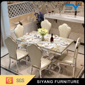 Italian Metal Furniture Modern Steel Dining Table Marble Dining Table pictures & photos