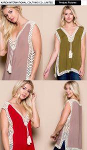 Women V-Neck Fringed Sleeveless Oversize Shirt pictures & photos