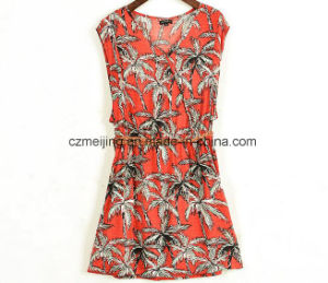 Printed Red Women`S V-Neck Dress