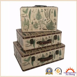 Antique Nesting PU Print Suitcase Storage Box Wooden Gift Box in White Color pictures & photos