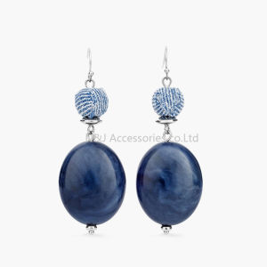 New Resin Beads blue Dangle Earrings Handmade Silver Plated Fashion Jewelry pictures & photos