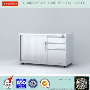 Tambour Door Cabinet Metal Furniture with 3 Drawers and Mobile/Glazed Door Cabinet pictures & photos