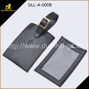 Durable Cowhide Leather Travel Luggage Tag with PVC Window