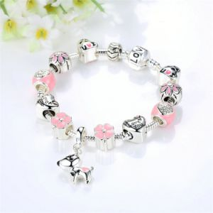 New Arrival Lovely Dog Pink Heart Flower Charms Bracelets for Women pictures & photos