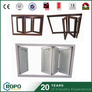 PVC Wooden Color Folding Windows Glass with Built in Blinds pictures & photos