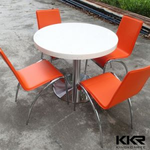 4 Seater Round Solid Surface Coffee Dining Table with Chair pictures & photos