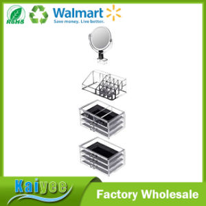 7 Drawers Jewelry Cosmetic Organizers with Removable Mirror and Black Mesh pictures & photos