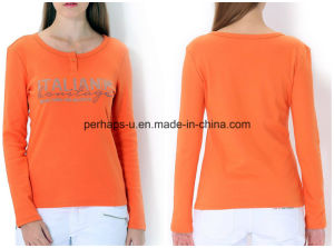 Wholesale Round Collar Slim Women Pure Color Cotton Long-Sleeved T-Shirt pictures & photos
