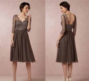 Brown Lace Party Prom Gown Tulle Bridesmaid Evening Dresses La819 pictures & photos