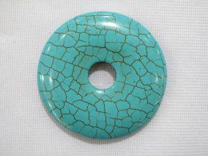 30mm Donut Green Turquoise Pendant