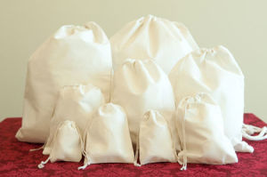 White Plain Cotton Drawstring Bags Fly-dB0080 pictures & photos