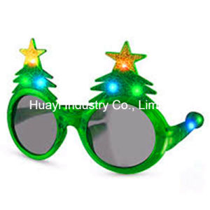 Christmas Tree Flashing Glitter LED Sunglasses pictures & photos