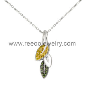 Leaf Design with Amber Stones 925 Silver Pendant
