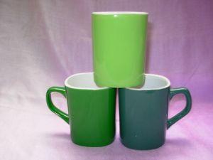 Green Color Glazed Square Ceramic Coffee Mug (WSY769M)
