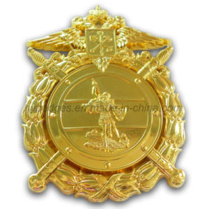 Golden Uniform Badge with Safety Pin Clutch (GZHY-BADGE-001) pictures & photos
