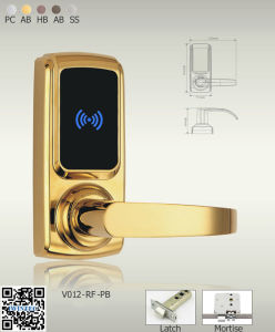 Hotel Electronic Lock Single Latch (V6012RF-PB) pictures & photos