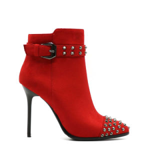 Gdshoe Factory Wholesale Double Color Low Heel Lady Ankle Boots