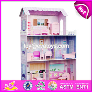 New Style 3 Floor Girls Pretend Play Wooden Dollhouse Cottage W06A224 pictures & photos