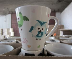 V-Shaped Ceramic Promotional Coffee Mug with Decal Printing (WSY814M)
