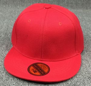 Red 6 Panel 100% Polyester Snapback Hat with Sticker pictures & photos