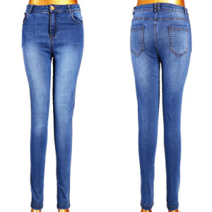 Wholesale Lady′s Blue Jeans with 5 Pockets