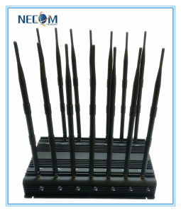 Adjustable Powerful 14antennas 3G 4G Cellphone UHF VHF WiFi Jammer, Adjustable 3G 4G Cellular Mobile Phone WiFi Jammer pictures & photos