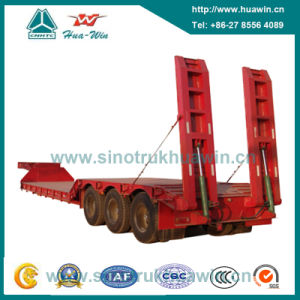 Three Axle Low Bed Semi Trailer with Hydraulic Ladder pictures & photos