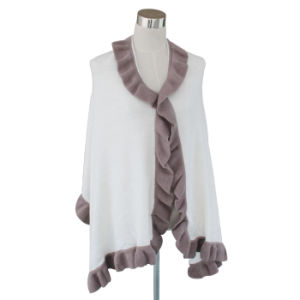 Lady Fashion Acrylic Knitted Ruffle Trim Scarf Wrap Shawl (YKY4158B-2) pictures & photos