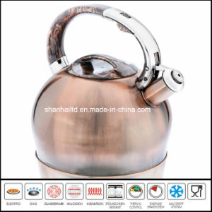 3L Brush Copper Stainless Steel Whistle Kettle Kitchenware pictures & photos