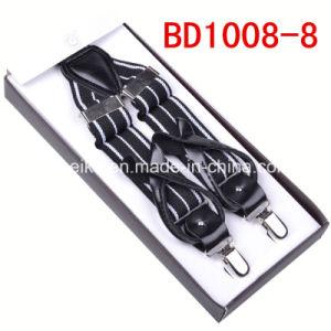 Fashion Jacquard Stripes Button/Clip Suspender for Men (BD1008) pictures & photos