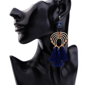 Elegant Crystal Studded Hollow Blue Tassel Alloy Long Women′s Earrings pictures & photos