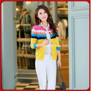 Coloured Woven Long Style Women Cardigan