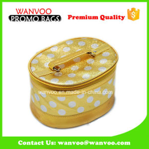 Custom PU Barrel Gold Glitter Cosmetic Bag Private Label pictures & photos