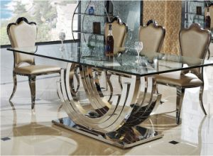 Royal Stainless Steel Glass Dining Table Set for Sale (SDT-016)