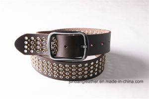 High Quality Man Jeans Leather Rivet Belt Stud Belt-Jbe1626