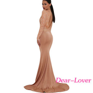 Khaki Sheer Glitter Mock Neck Cut out Back Maxi Evening Gown pictures & photos