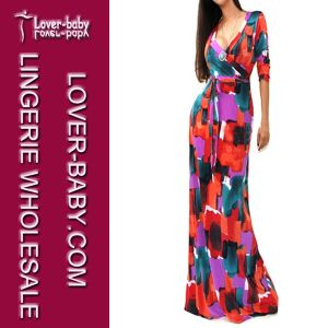 Woman Fashionable V-Neck Long Sleeve Maxi Long Gown Dress (L51208-3) pictures & photos