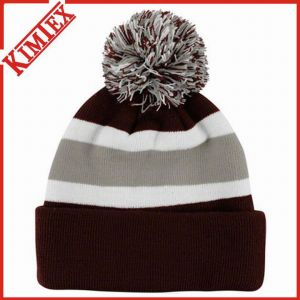 Cheap Knitted Stripe Beanie with POM POM pictures & photos