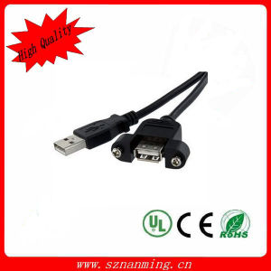 USB 2.0 a Male to a Female Cable with Screw for Panel pictures & photos