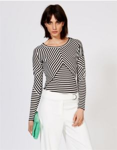 Classic Fitted Stripe Panelled Long Sleeved T-Shirt with Shoulder Zip pictures & photos