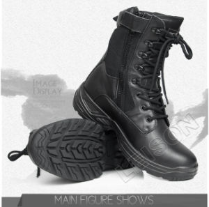 Tactical Boots of Waterproof Nylon and Cowhide Leather/Anti-Slip and Anti-Abrasion pictures & photos