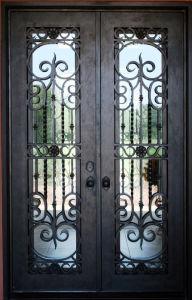 Sz-D003 Beautiful Wrought Iron Double Front Door pictures & photos