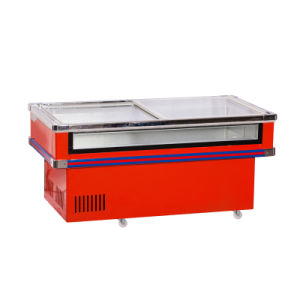 One Compressor Refrigerated and Frozen Front Clear Seafood Freezer
