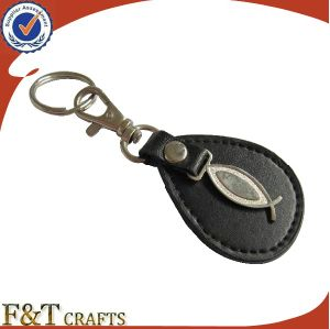 Top Selling Cheap Custom Made Oval Shape Metal Logo Leather Keychain pictures & photos