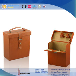 Factory Handmade Orange Wooden Wine Box for Wholesale (5629R2) pictures & photos
